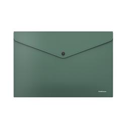 Папка-конверт на кнопке пластиковая  ErichKrause® Diagonal Classic, непрозрачная, A4, зеленый 50294