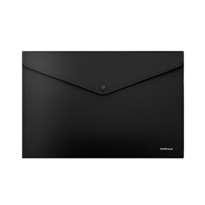 Папка-конверт на кнопке пластиковая  ErichKrause® Diagonal Classic, непрозрачная, A4, черный 50295