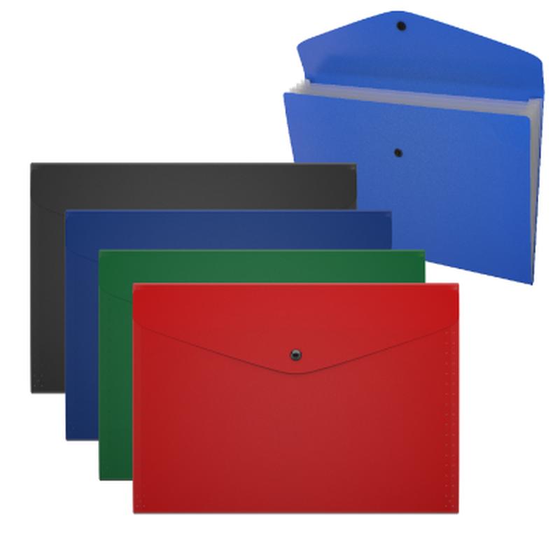 Папка-конверт на кнопке пластиковая с отделениями ErichKrause® Matt Classic, непрозрачная, A4, ассорти 50298