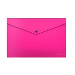Папка-конверт на кнопке пластиковая  ErichKrause® Glossy Neon, непрозрачная, A4, розовый (в пакете по 12 шт.) 50306