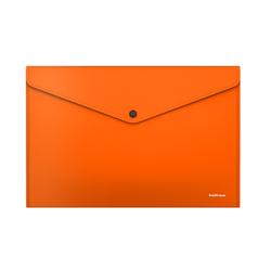 Папка-конверт на кнопке пластиковая  ErichKrause® Glossy Neon, непрозрачная, A4, оранжевый (в пакете по 12 шт.) 50307