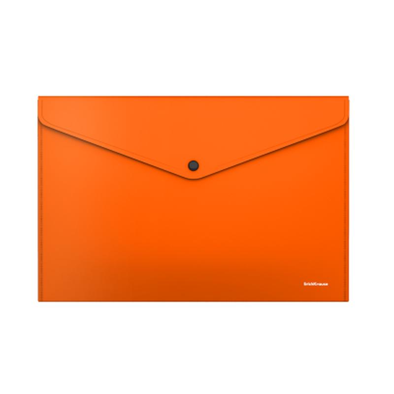 Папка-конверт на кнопке пластиковая  ErichKrause® Glossy Neon, непрозрачная, A4, оранжевый 50307