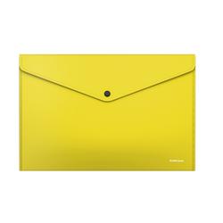 Папка-конверт на кнопке пластиковая  ErichKrause® Glossy Neon, непрозрачная, A4, желтый (в пакете по 12 шт.) 50309