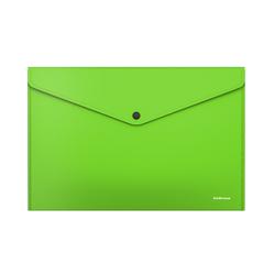 Папка-конверт на кнопке пластиковая  ErichKrause® Glossy Neon, непрозрачная, A4, зеленый (в пакете по 12 шт.) 50311