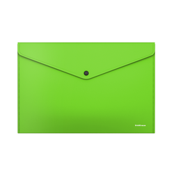 Папка-конверт на кнопке пластиковая  ErichKrause® Glossy Neon, непрозрачная, A4, зеленый 50311