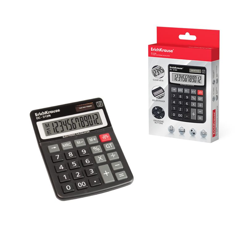 Калькулятор настольный 12-разрядов ErichKrause® DC-312N 50312