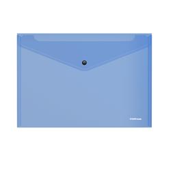 Папка-конверт на кнопке пластиковая  ErichKrause® Glossy Vivid, полупрозрачная, A4, синий 50313