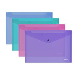 Папка-конверт на кнопке пластиковая  ErichKrause® Glossy Vivid, полупрозрачная, A4, ассорти 50314