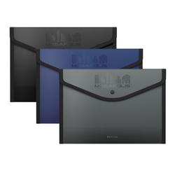 Папка-конверт на кнопке пластиковая  ErichKrause® MEGAPOLIS, обшитая, непрозрачная, A4+, ассорти 50324