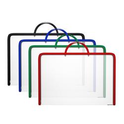 Папка на молнии пластиковая с ручками ErichKrause® Diagonal Clear, с цветной молнией, A3, ассорти 50345