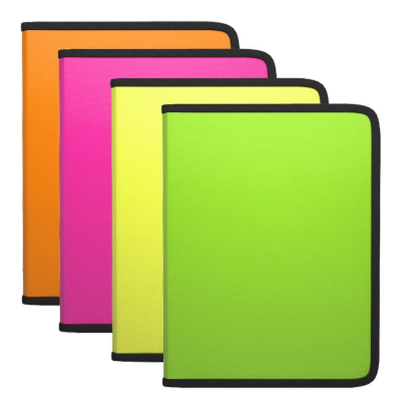Папка для тетрадей на молнии пластиковая  ErichKrause® Diagonal Neon, A4+, ассорти 50348