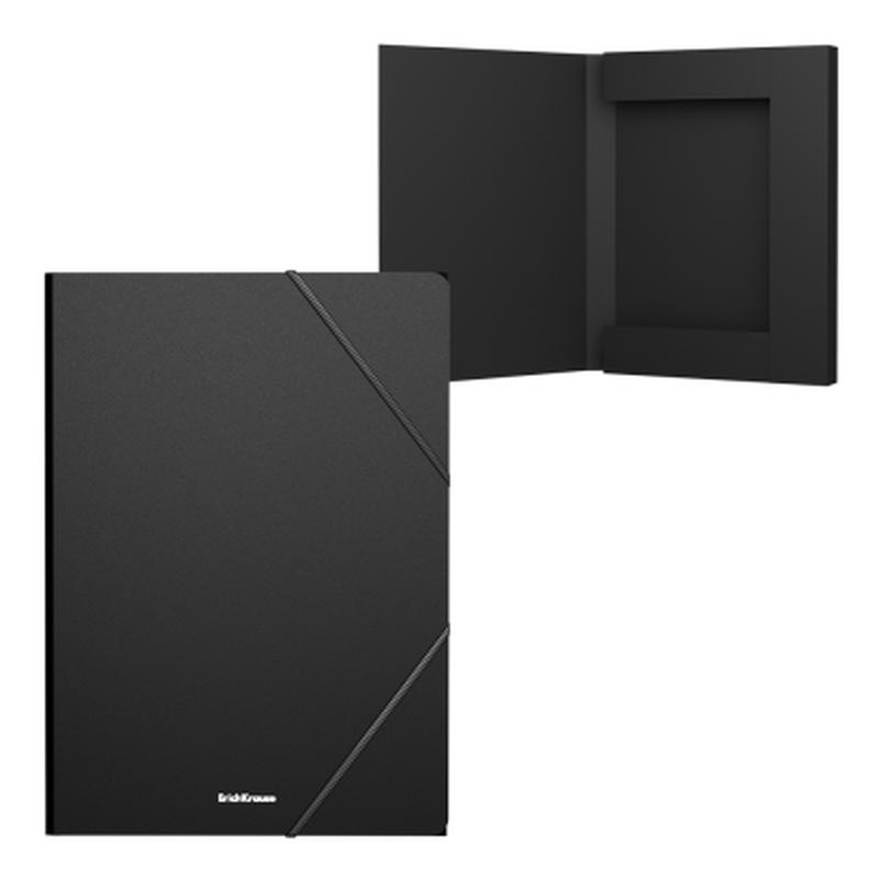 Папка на резинках пластиковая  ErichKrause® Matt Classic, 30мм, A4, черный (в пакете по 4 шт.) 50371