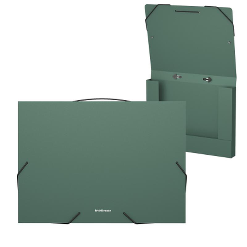 Папка на резинках пластиковая  ErichKrause® Matt Classic, с ручкой, 30мм, A4, зеленый 50378