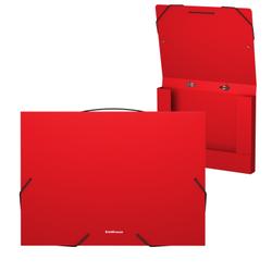 Папка на резинках пластиковая  ErichKrause® Matt Classic, с ручкой, 30мм, A4, красный 50379