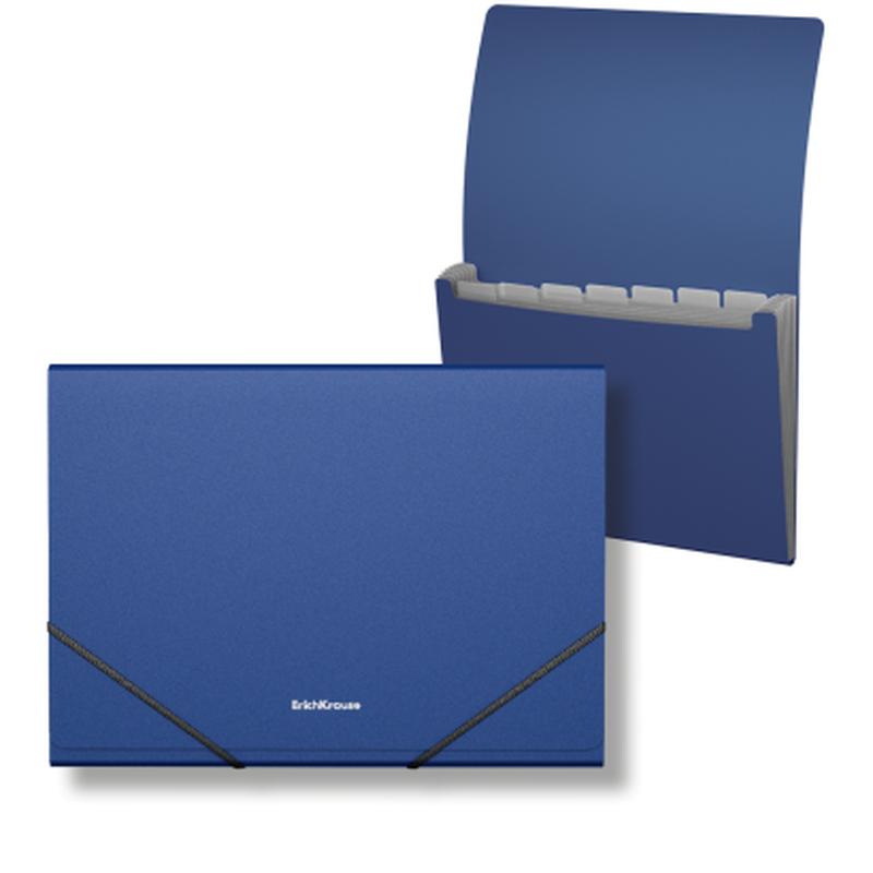 Папка-картотека пластиковая  ErichKrause® Matt Classic, с 6 отделениями, A4, синий 50415