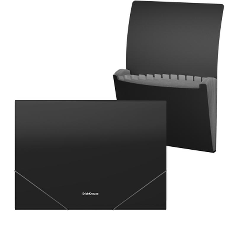 Папка-картотека пластиковая  ErichKrause® Matt Classic, с 12 отделениями, A4, черный 50416