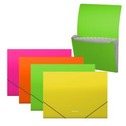 Папка-картотека пластиковая  ErichKrause® Matt Neon, с 12 отделениями, A4, ассорти 50428
