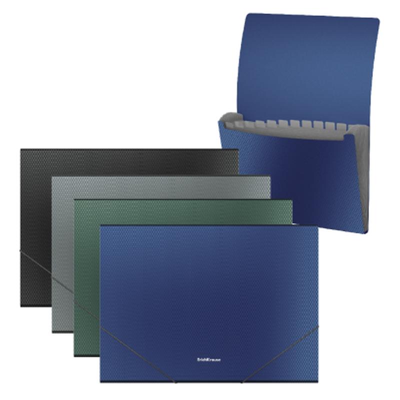 Папка-картотека пластиковая  ErichKrause® Diamond Original, с 12 отделениями, A4, ассорти 50432