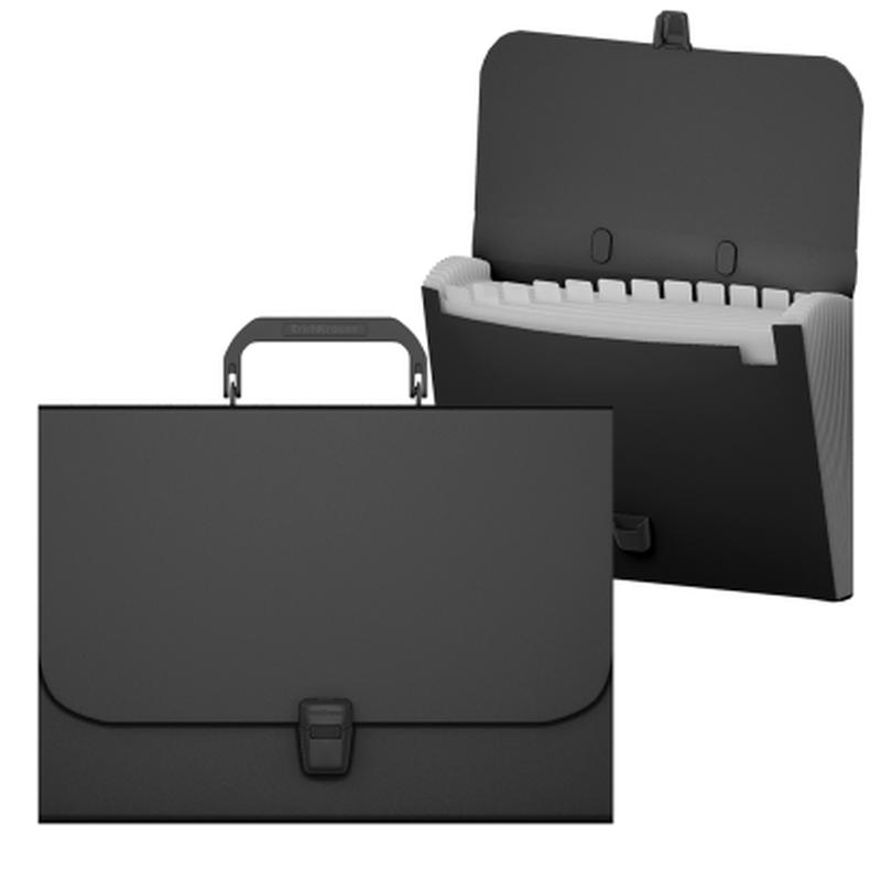 Портфель пластиковый ErichKrause® Matt Classic, с 12 отделениями, A4, черный 50437
