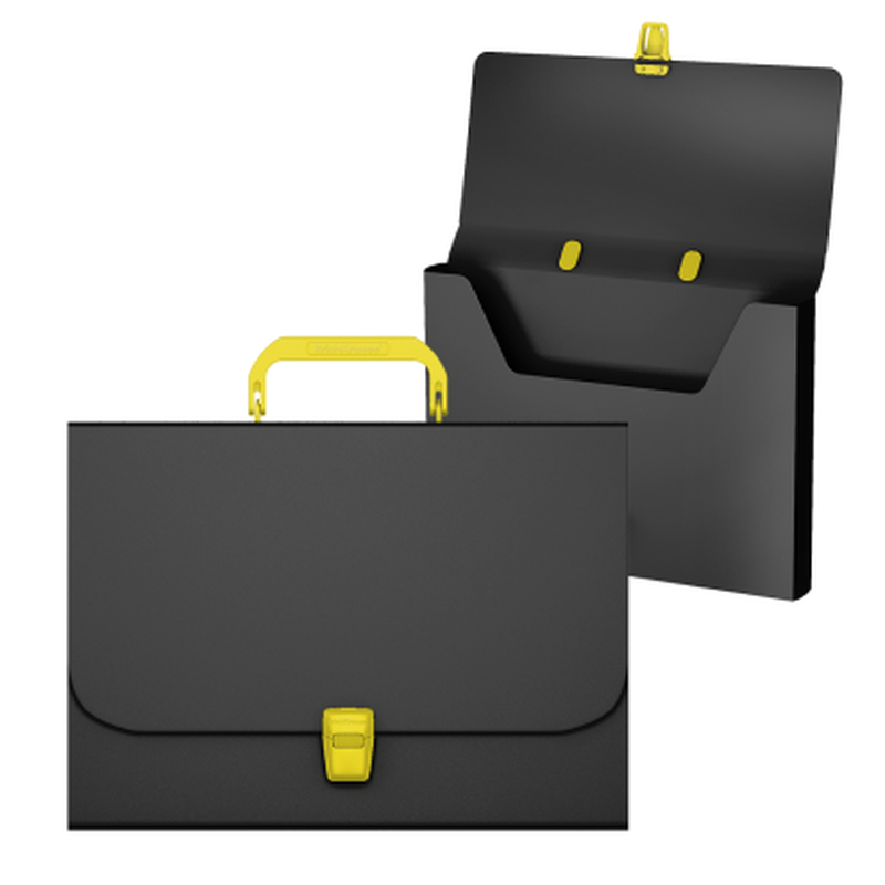 Портфель пластиковый ErichKrause® Matt Accent , A4, черный с желтой ручкой и замком 50440