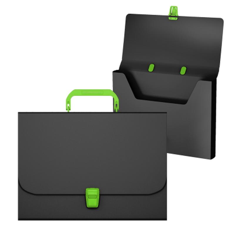 Портфель пластиковый ErichKrause® Matt Accent , A4, черный с зеленой ручкой и замком 50442