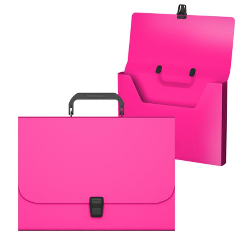 Портфель пластиковый ErichKrause® Matt Neon, A4, розовый 50451