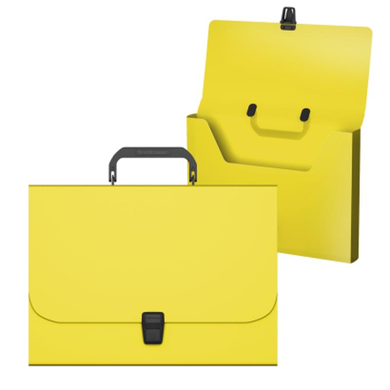 Портфель пластиковый ErichKrause® Matt Neon, A4, желтый 50453