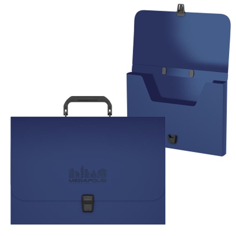 Портфель пластиковый ErichKrause® MEGAPOLIS, FC, синий 50456