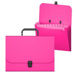 Портфель пластиковый ErichKrause® Matt Neon, с 12 отделениями, A4, розовый 50461