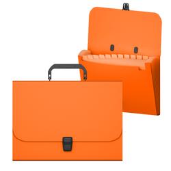 Портфель пластиковый ErichKrause® Matt Neon, с 12 отделениями, A4, оранжевый 50462