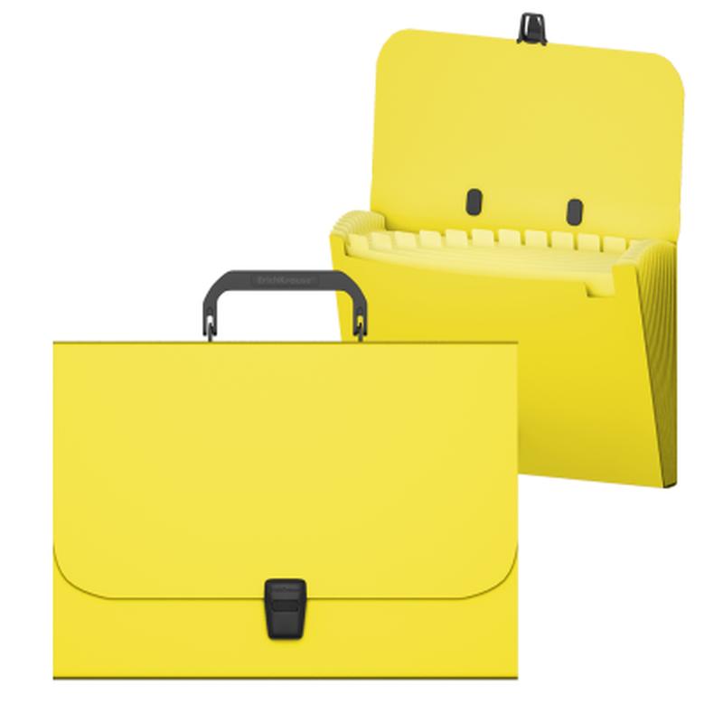 Портфель пластиковый ErichKrause® Matt Neon, с 12 отделениями, A4, желтый 50463