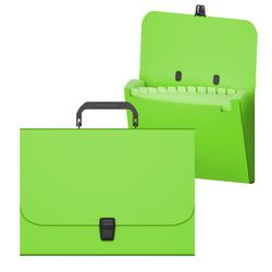 Портфель пластиковый ErichKrause® Matt Neon, с 12 отделениями, A4, зеленый 50464