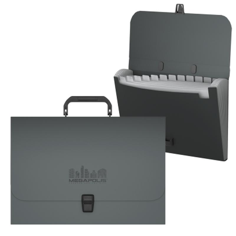 Портфель пластиковый ErichKrause® MEGAPOLIS, с 12 отделениями, A4, серый 50465