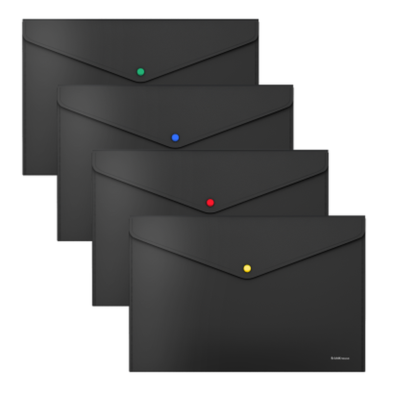 Папка-конверт на кнопке пластиковая  ErichKrause® Matt Black Line с цветной кнопкой, A4 50493