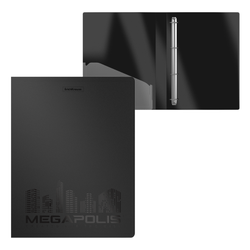 Папка на 4 кольцах пластиковая  ErichKrause® MEGAPOLIS, 24 мм, А4, черный 50516