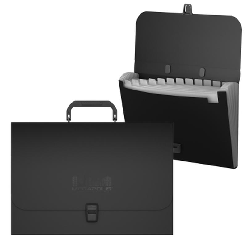 Портфель пластиковый ErichKrause® MEGAPOLIS, с 12 отделениями, A4, черный 50517