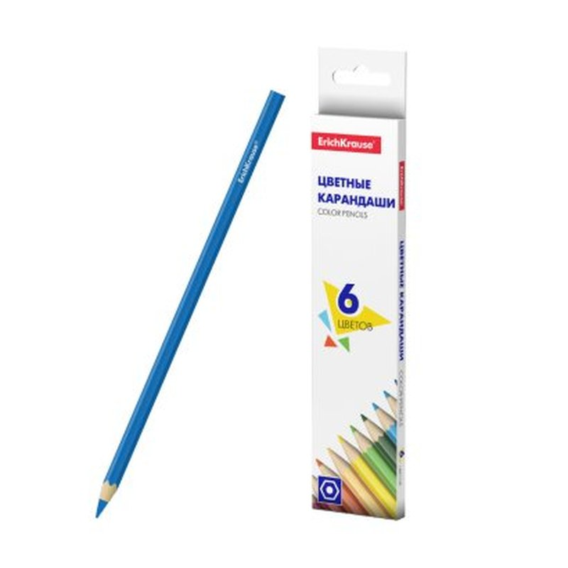 Цветные карандаши шестигранные ErichKrause® Basic 6 цветов 50528