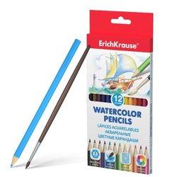 Акварельные карандаши шестигранные ErichKrause® 12 цветов с кисточкой 50533
