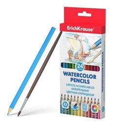 Акварельные карандаши шестигранные ErichKrause®  24 цвета с кисточкой 50534