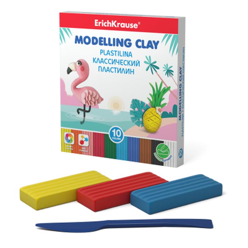 Классический пластилин ErichKrause® 10 цветов со стеком, 180г 50547