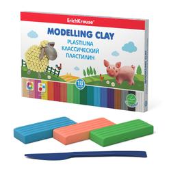 Классический пластилин ErichKrause® 18 цветов со стеком, 324г 50550
