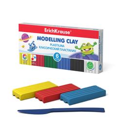 Классический пластилин ErichKrause® Monsters 6 цветов со стеком, 90г (коробка) 50551