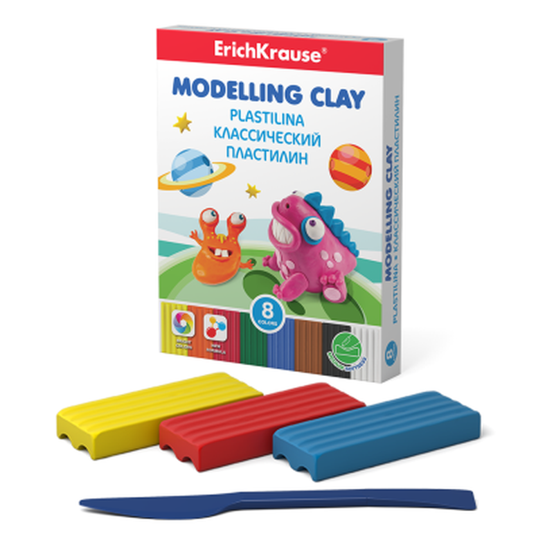 Классический пластилин ErichKrause® Monsters 8 цветов со стеком, 120г (коробка) 50552