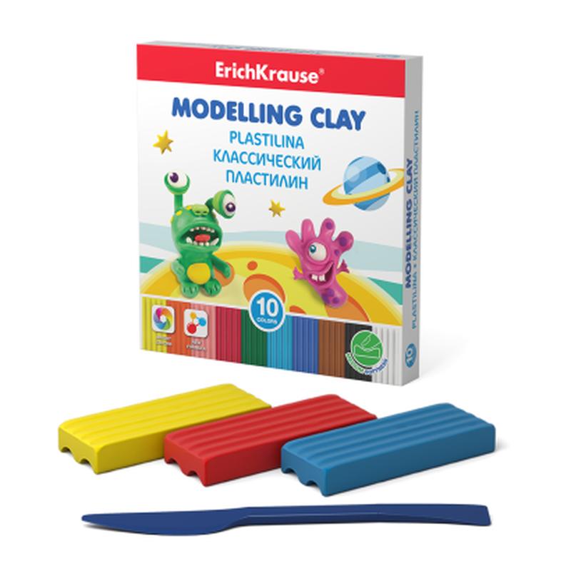 Классический пластилин ErichKrause® Monsters 10 цветов со стеком, 150г (коробка) 50553