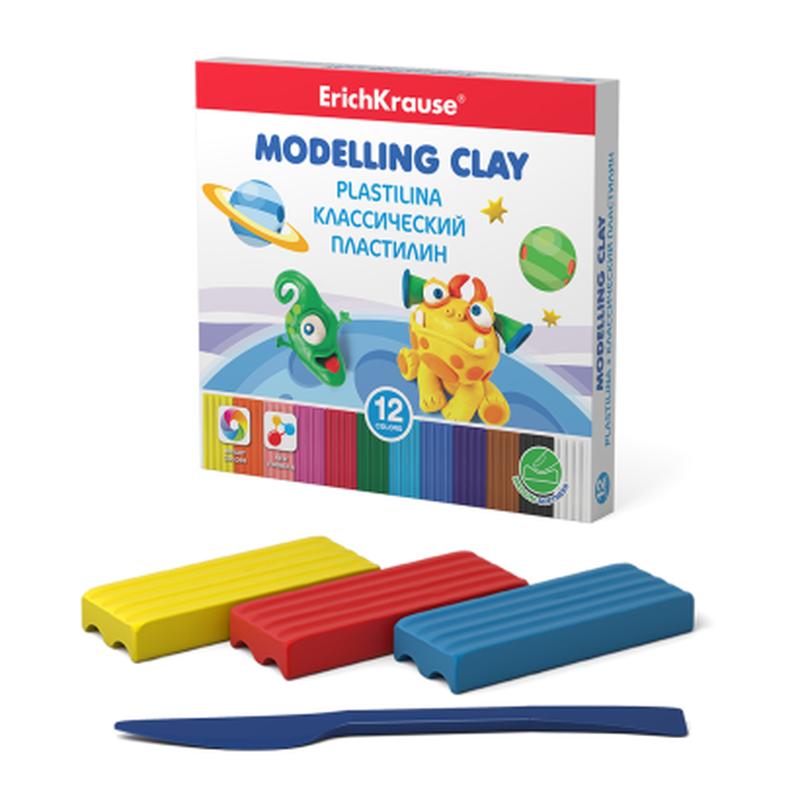 Классический пластилин ErichKrause® Monsters 12 цветов со стеком, 180г (коробка) 50554