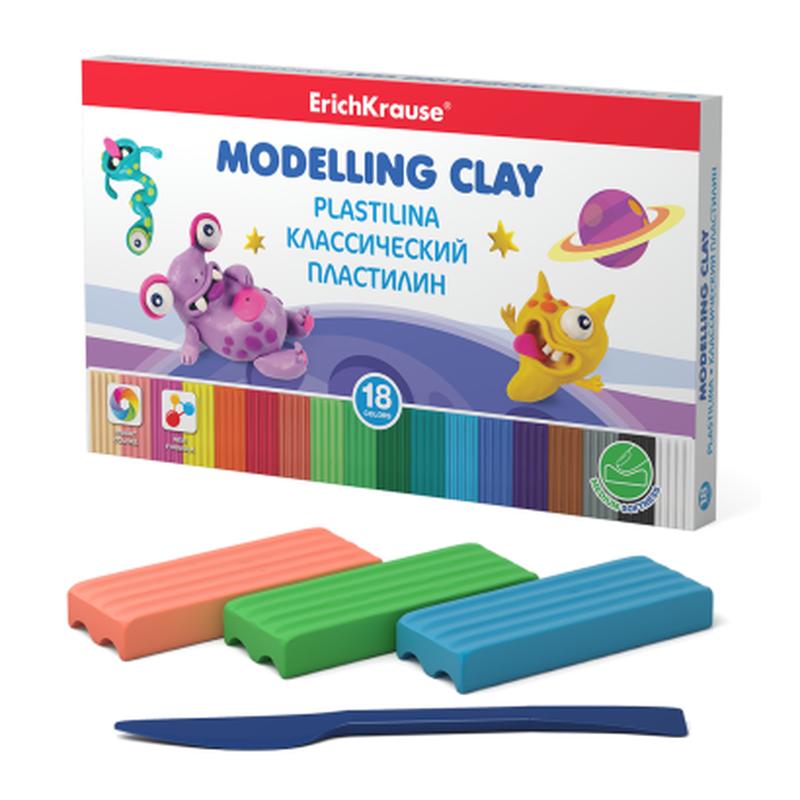 Классический пластилин ErichKrause® Monsters 18 цветов со стеком, 270г (коробка) 50555