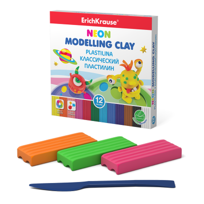 Классический пластилин ErichKrause® Monsters Neon 12 цветов со стеком, 180г (коробка) 50556