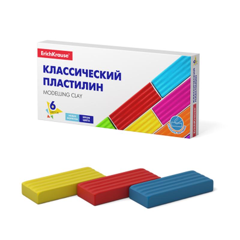 Классический пластилин ErichKrause® Basic 6 цветов, 96г (коробка) 50557