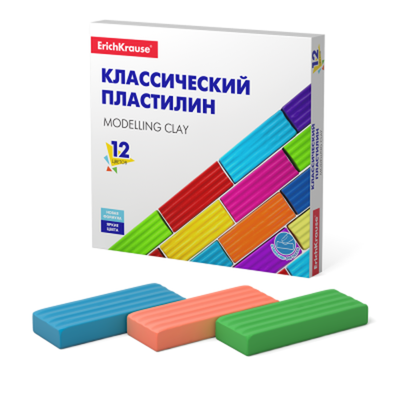 Классический пластилин ErichKrause® Basic 12 цветов, 192г (коробка) 50558
