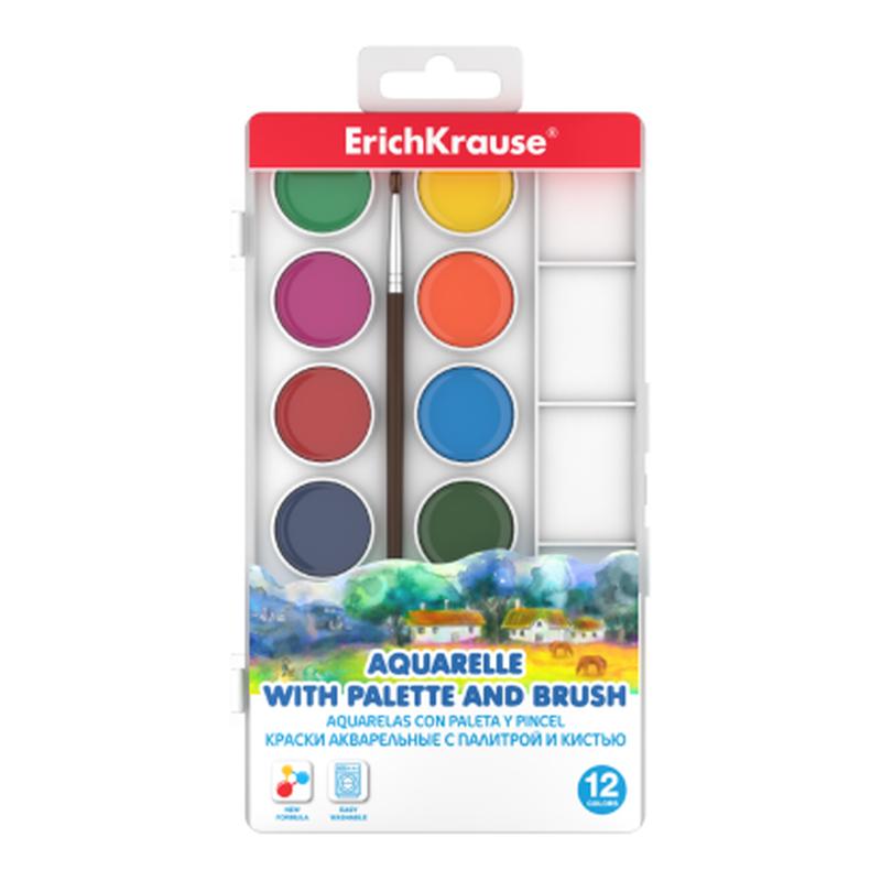 Краски акварельные ErichKrause® 12 цветов с палитрой и кистью 50583